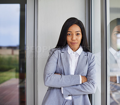 Buy stock photo Portrait of an ambitious young businesswoman