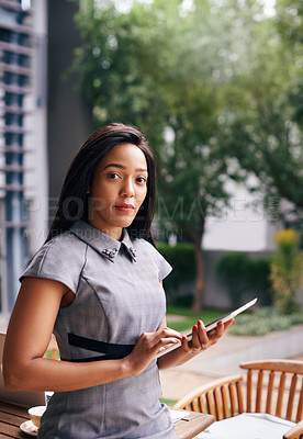 Buy stock photo Portrait of a confident young businesswoman standing outdoors
