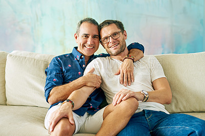 Buy stock photo Cropped portrait of an affectionate mature couple on the sofa at home