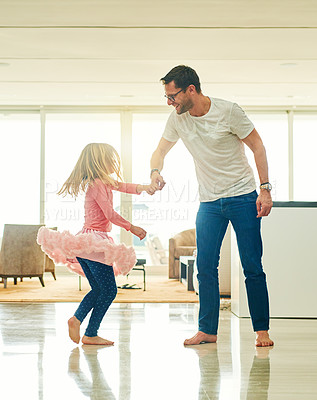 Buy stock photo Full length shot of a mature man helping his daughter practice for her ballet recital