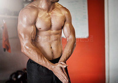 Buy stock photo Cropped shot of an unrecognizable muscular young man showing off his muscles in the gym