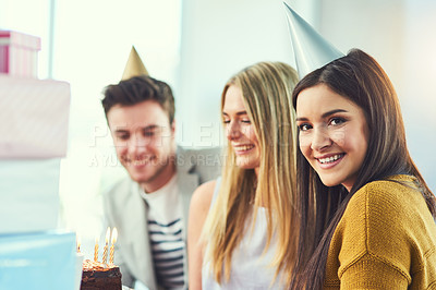 Buy stock photo Cropped portrait of an attractive young woman celebrating a birthday with her friends