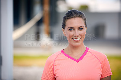 Buy stock photo Portrait of a young attractive woman going for a run outside