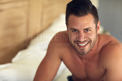 Buy stock photo Portrait of a young handsome man in bed at home