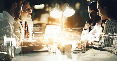 Buy stock photo Cropped shot of a group of businesspeople working around a table in the office superimposed over a city background