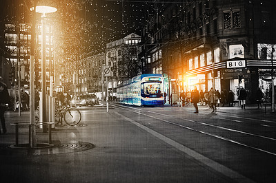 Buy stock photo Digitally manipulated shot of a busy city street at night