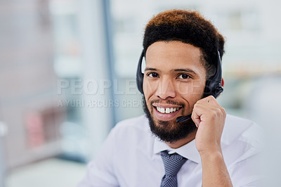 Buy stock photo Portrait of a confident young man working in a call center