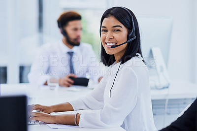 Buy stock photo Portrait of a confident young woman working in a call center