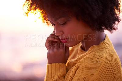 Buy stock photo Portrait of a young beautiful woman spending the day at the beach