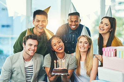 Buy stock photo Cropped portrait of a young group of friends celebrating at a birthday party together