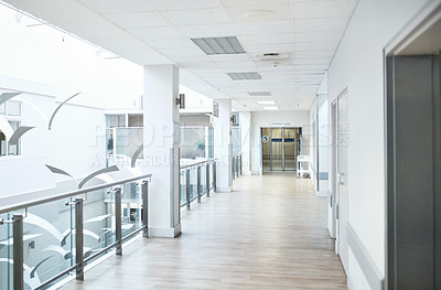 Buy stock photo Shot of a empty hospital corridor on the 2nd floor