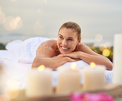 Buy stock photo Shot of a woman enjoying her time at a spa