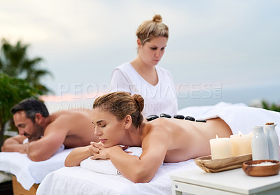 Buy stock photo Shot of a couple having a relaxing day at the spa