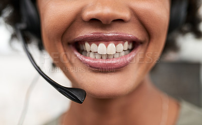 Buy stock photo Closeup shot of a call centre agent working in an office