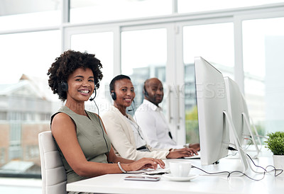 Buy stock photo Portrait of call centre agents working in an office