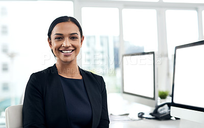 Buy stock photo Portrait of a young businesswoman working in an office