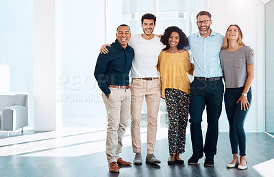 Buy stock photo Full length portrait of a group of creative businesspeople standing together in their modern office
