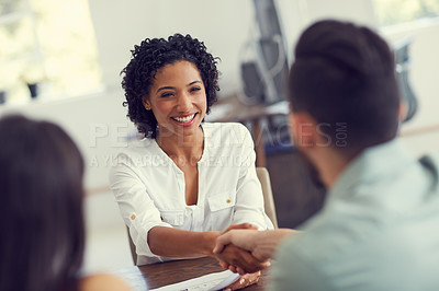 Buy stock photo Cropped shot of a young therapist meeting a couple for a counselling session