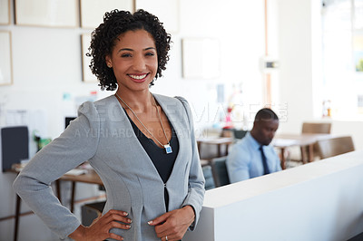 Buy stock photo Portrait of a young businesswoman in the office