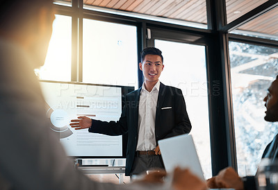 Buy stock photo Shot of a young businessman giving a presentation to his colleagues in an office