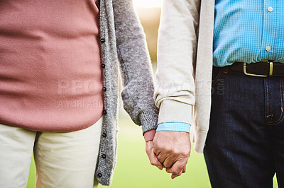 Buy stock photo Shot of an affectionate senior couple spending the day at the park