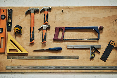 Buy stock photo Cropped shot of tools in a workshop