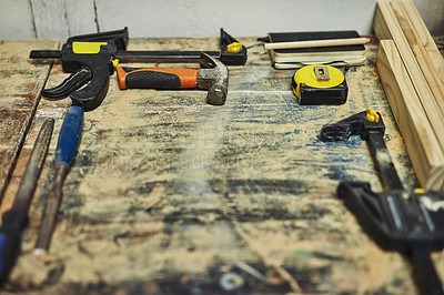 Buy stock photo Cropped shot of tools lying on a workbench