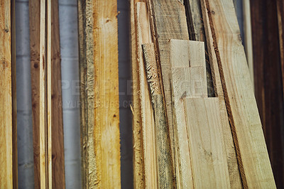 Buy stock photo Cropped shot of wood in a workshop
