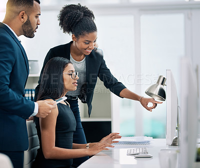 Buy stock photo Cropped shot of business people working together in an office