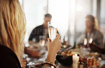 Buy stock photo Shot of young friends enjoying a get together at a restaurant