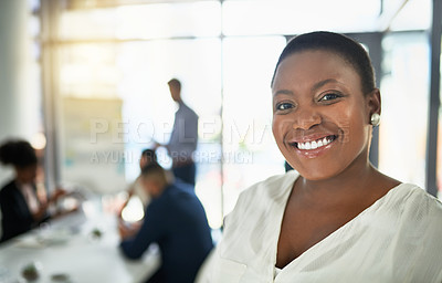 Buy stock photo Portrait a businesswoman attending a meeting in the boardroom
