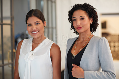 Buy stock photo Portrait of young businesswomen in the office
