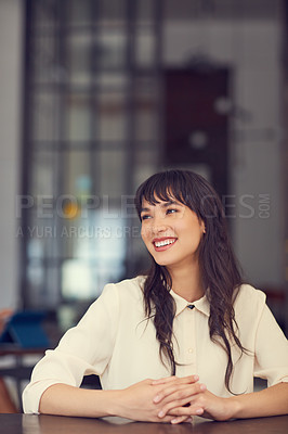 Buy stock photo Cropped shot of a young attractive businesswoman in the office