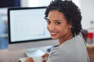 Buy stock photo Cropped shot of a young businesswoman in the office
