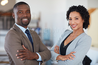 Buy stock photo Portrait of a young businesswoman and businessman in the office