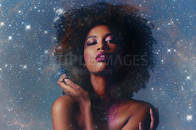 Buy stock photo Studio shot of a beautiful young woman posing with glitter on her body