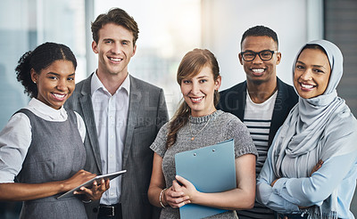 Buy stock photo Portrait of confident young business people standing inside of the office at work during the day