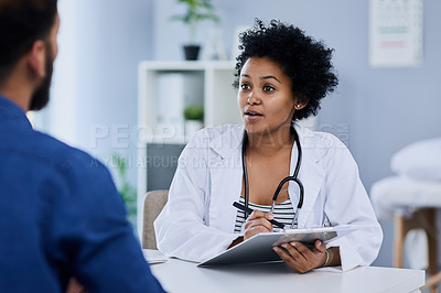 Buy stock photo Cropped shot of a female doctor with a patient