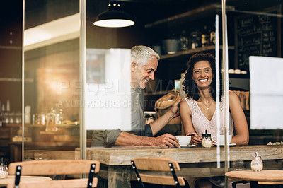 Buy stock photo Portrait of a mature couple on a coffee date