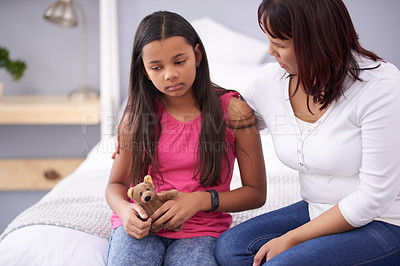 Buy stock photo Cropped shot of a mother consoling her teenage daughter
