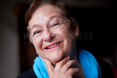 Buy stock photo Portrait of a happy senior woman at home