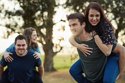 Buy stock photo Cropped shot of four friends out on a double date
