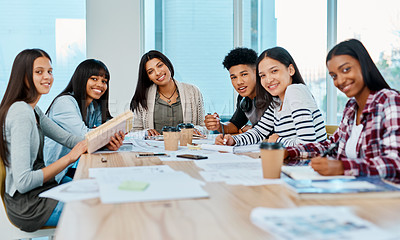 Buy stock photo Portrait of a group of happy young students studying together