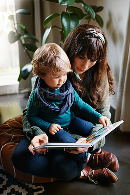 Buy stock photo Cropped shot of a young woman reading to her son at home