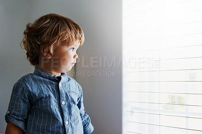 Buy stock photo  Shot of an adorable little boy at home