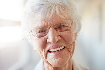 Buy stock photo Portrait of a happy elderly woman at a retirement home