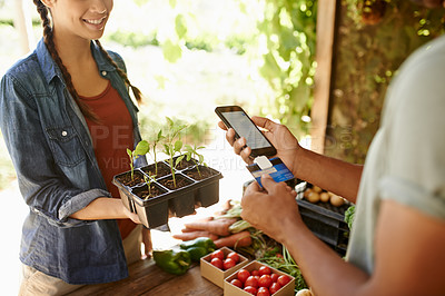 Buy stock photo Cropped shot of young people at a farmers market