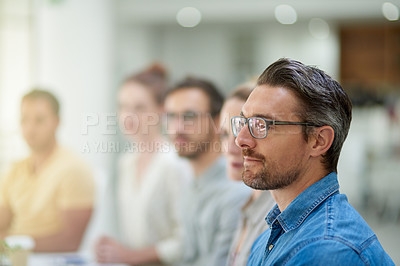 Buy stock photo Cropped shot of businesspeople attending a seminar