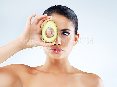 Buy stock photo Cropped studio shot of a beautiful young woman