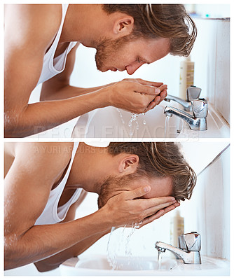 Buy stock photo Shot of a young man washing his face at a basin in the bathroom